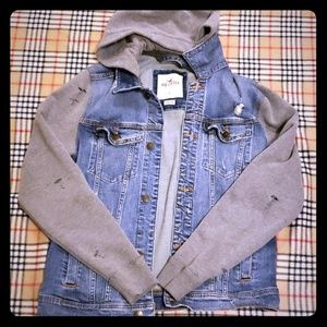 Hollister size large hooded denim jacket
